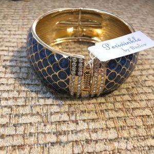 Periwinkle blue and rhinestone spring bracelet